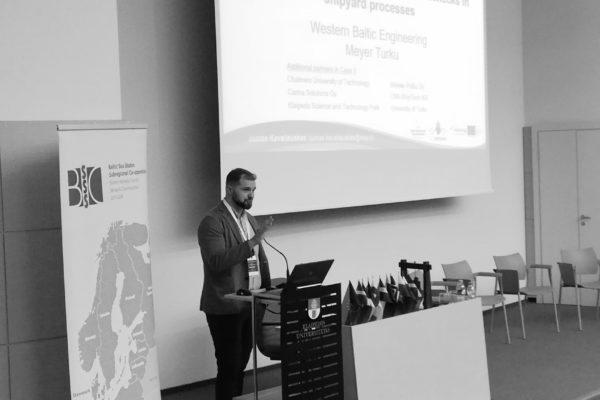 ECOPRODIGI project partner Justas Kavaliauskas presenting how to solve eco-inefficiencies in shipyard processes.